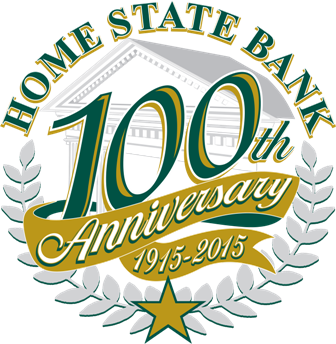 Home State Bank's 100th Anniversary logo